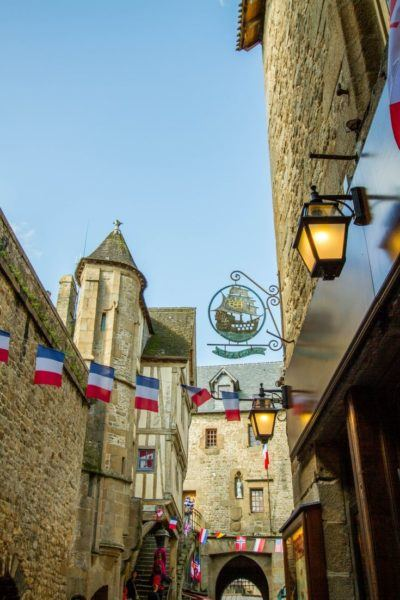 Walking through the town of Mont St. Michel.