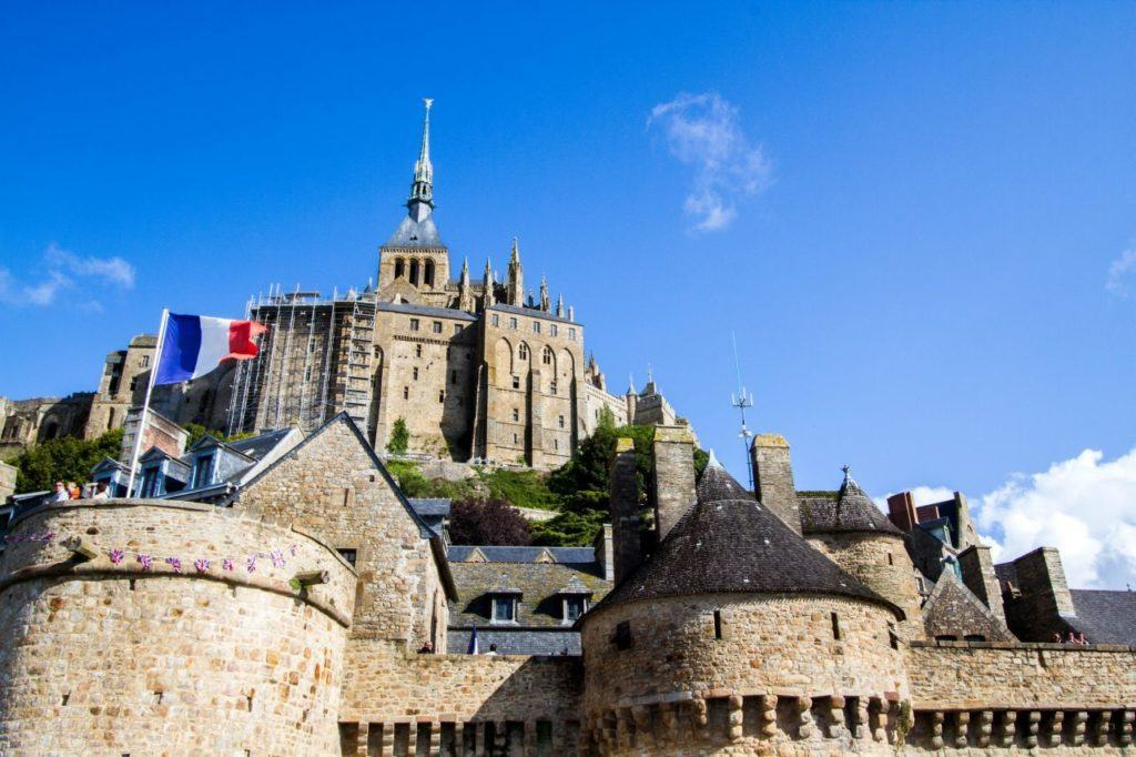 Looking up at the Mont St. Michel World Heritage Site.