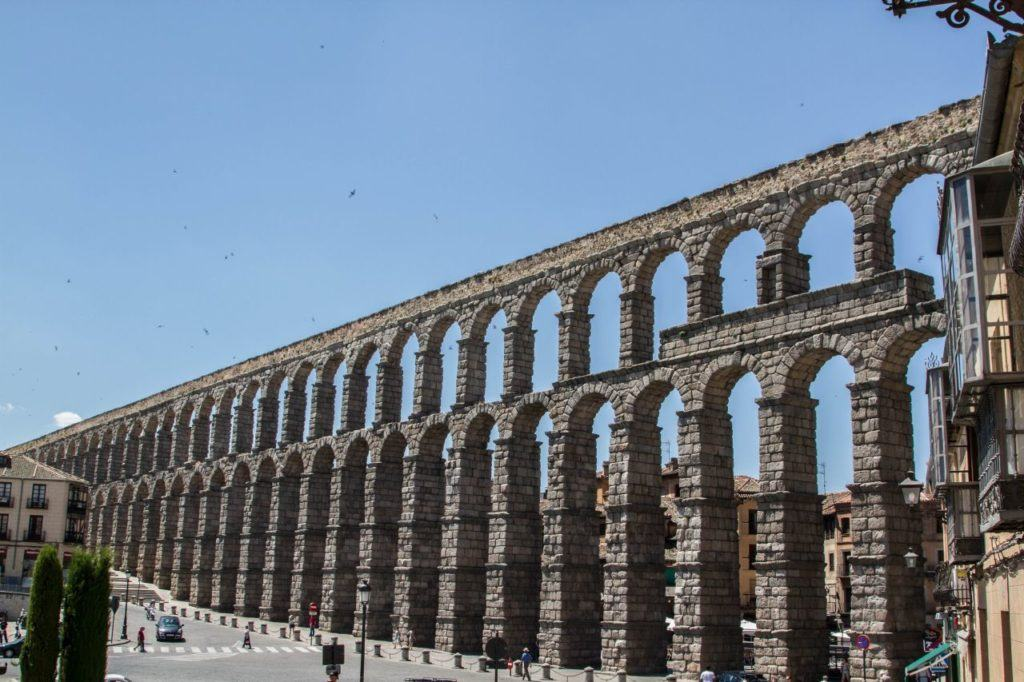 The aquaduct is the UNESCO World Heritage Site Segovia.