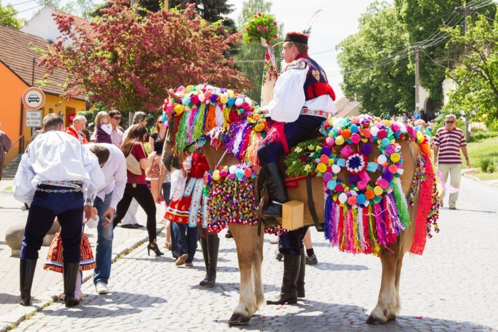 Colorful decorations adorn the horse of a Kings guard during the Ride of the Kings in Czechia.