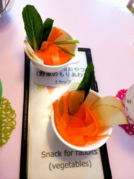 Carrots, apples, and more for rabbit food with a menu at the rabbit cafe in Tokyo