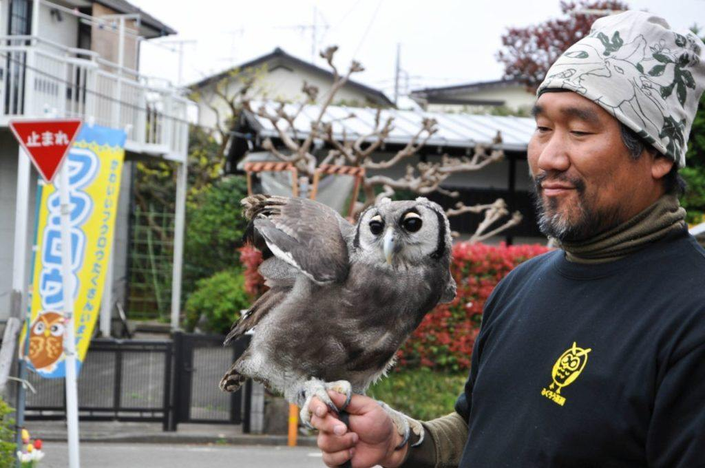 Owl and his owner in front of the Tokyo Owl Cafe
