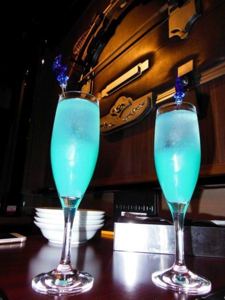 Glowing blue drinks at Final Fantasy.