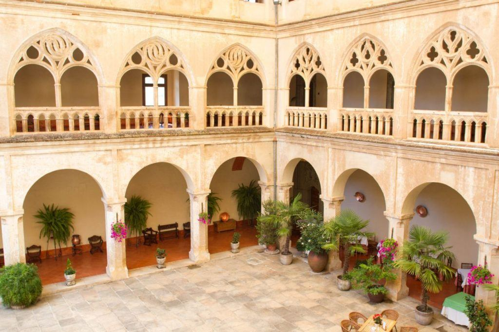 The interior of the monastery, looking down from the room floors to the restaurant area.