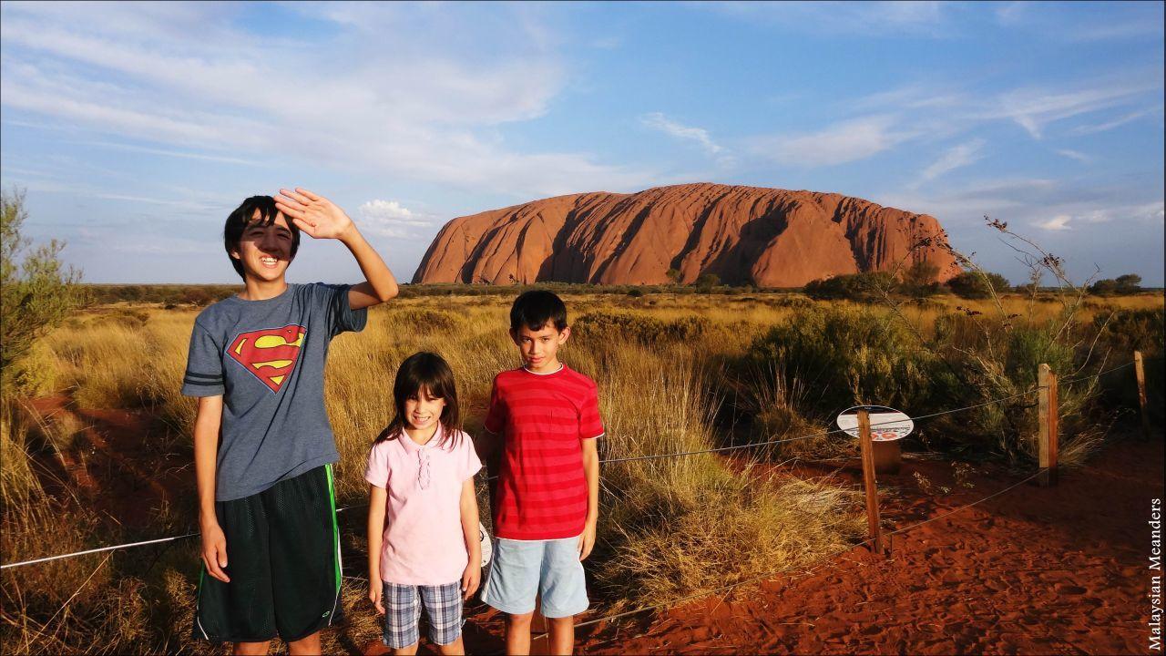 The children in front of Uluru.