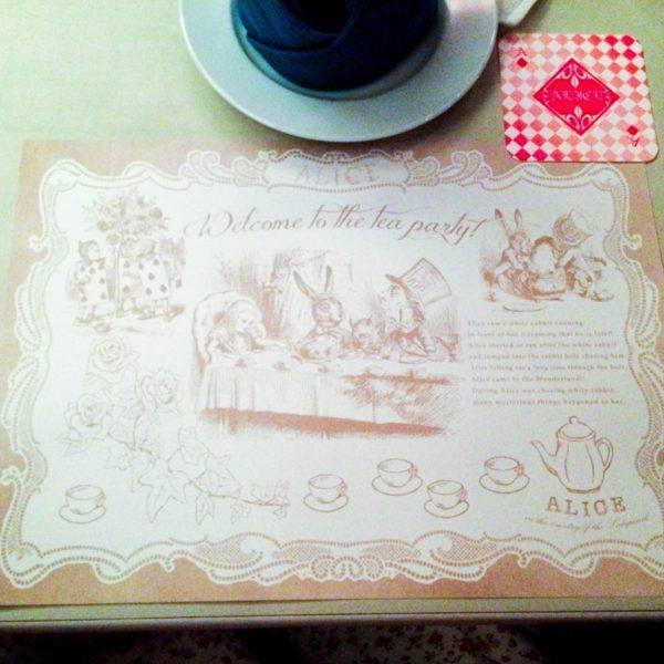 Alice in Wonderland restaurant table setting.