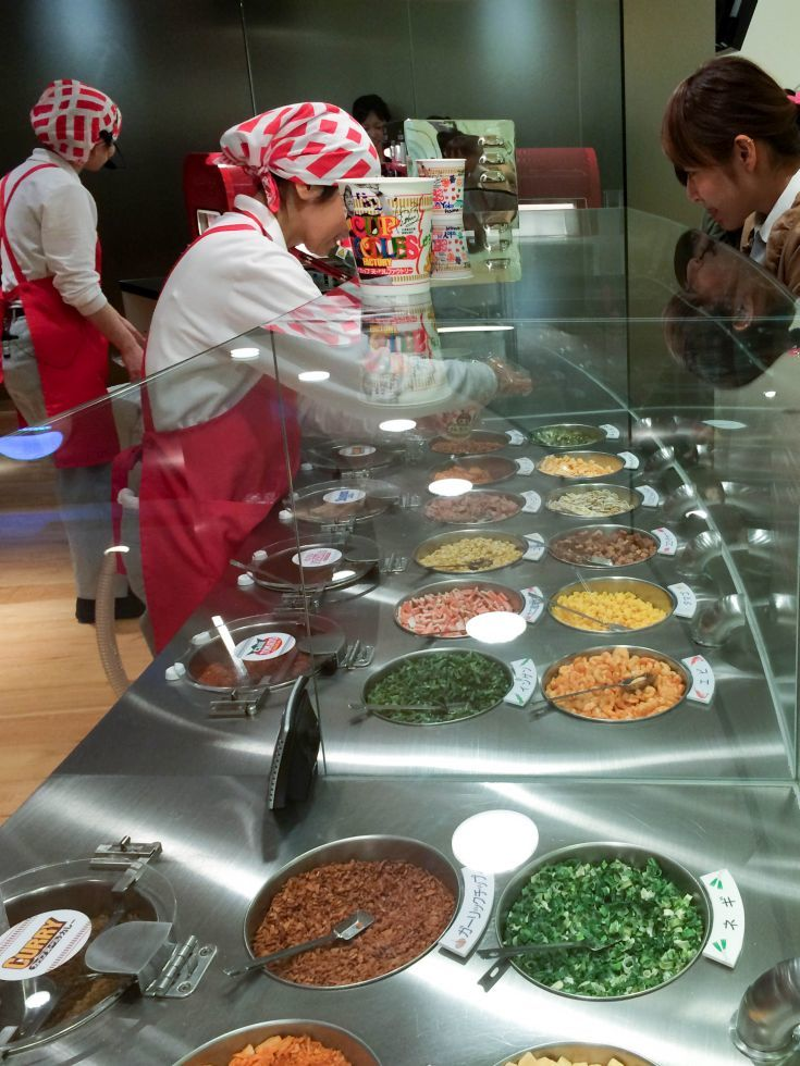 Picking the flavors at the Cup Noodles Factory