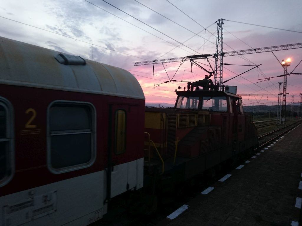 A sunset on the rails as we train travel in eastern Europe.