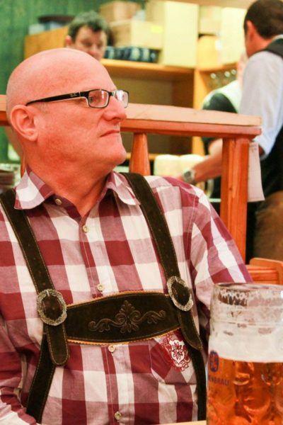 Lederhosen is preferred wear during a beer festival in Germany.