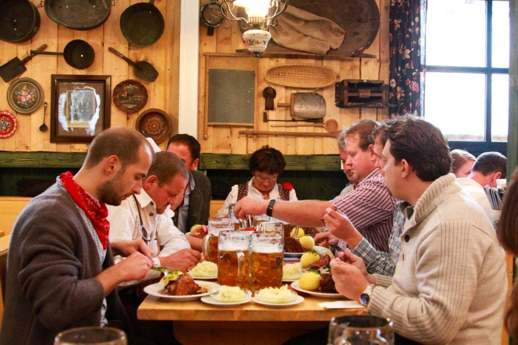 A full on Bavarian feast in one of the many restaurant tents.