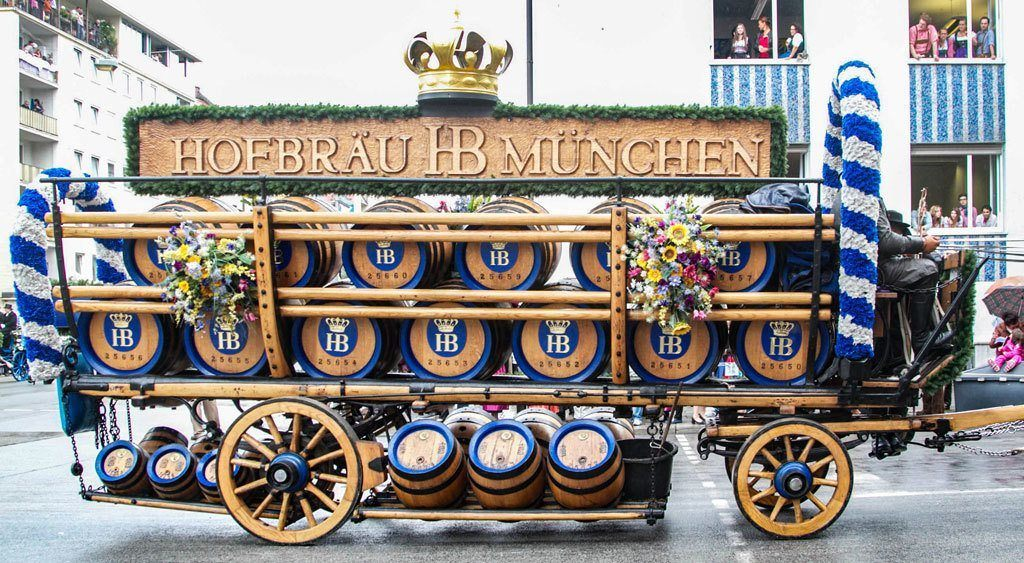 The Hofbrau Munchen float full of beer barrels goes by in the opening parade.