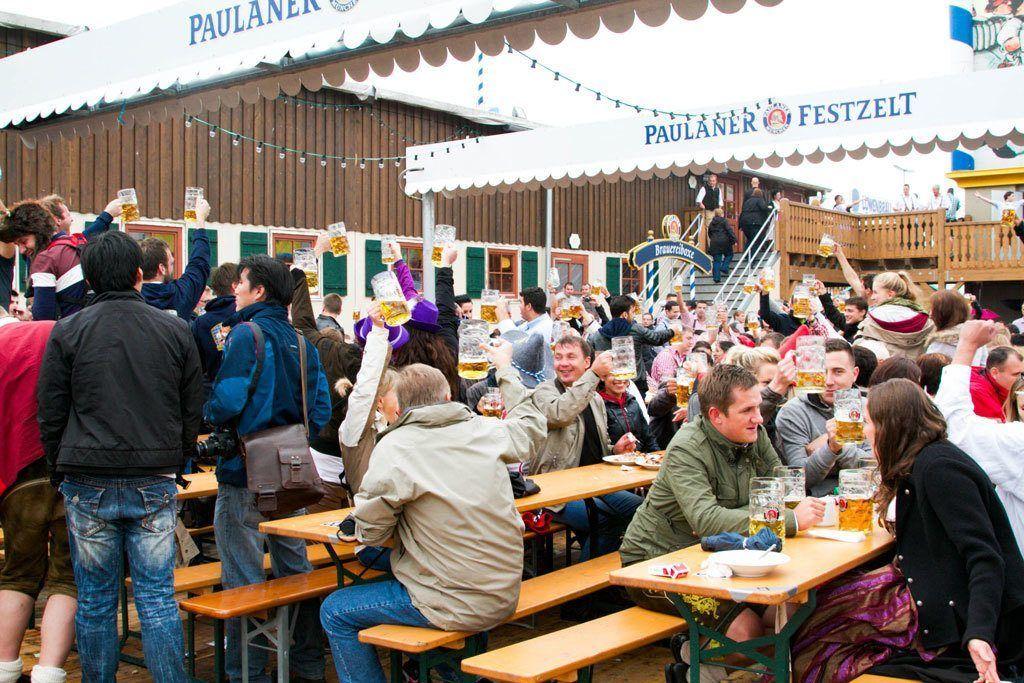 Have a great time at the Paulaner Festzelt.