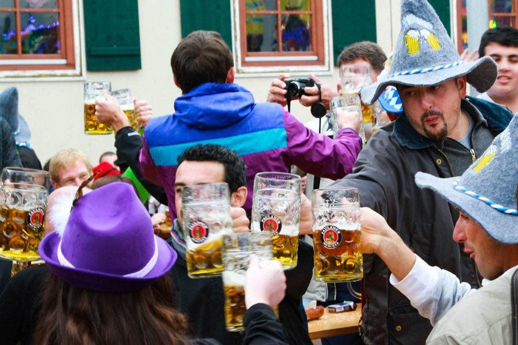 Everyone is your friend when sharing a toast at one of the Oktoberfest tables.