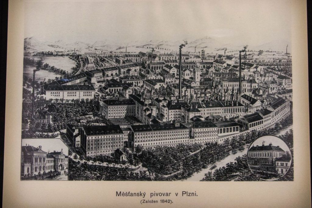 Print of Pilsener Urquell Brewery showing the plant in 1842.