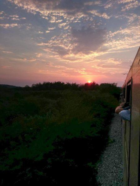 The sun setting as we rode trains in Eastern Europe.