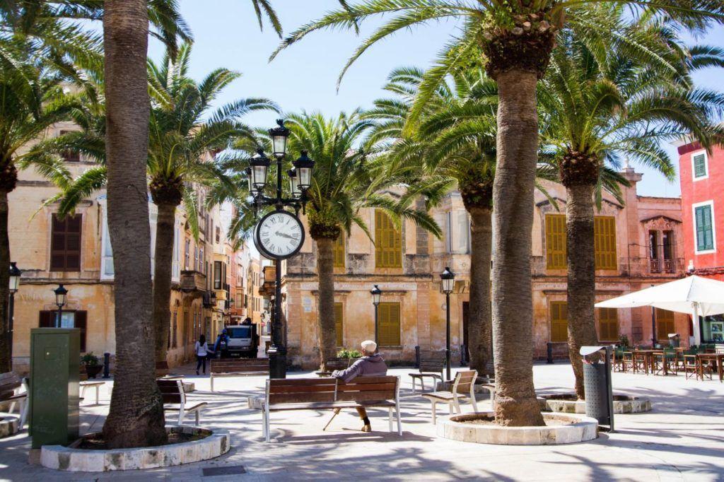 A peaceful town square in Mallorca.