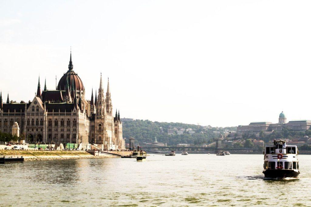 The Hungarian Parliament from the Danube in Budapest.