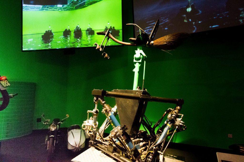 Virtual Reality Game riding broomsticks.