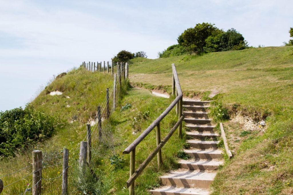 The path can get tricky at times, but the steps and handle rail help.