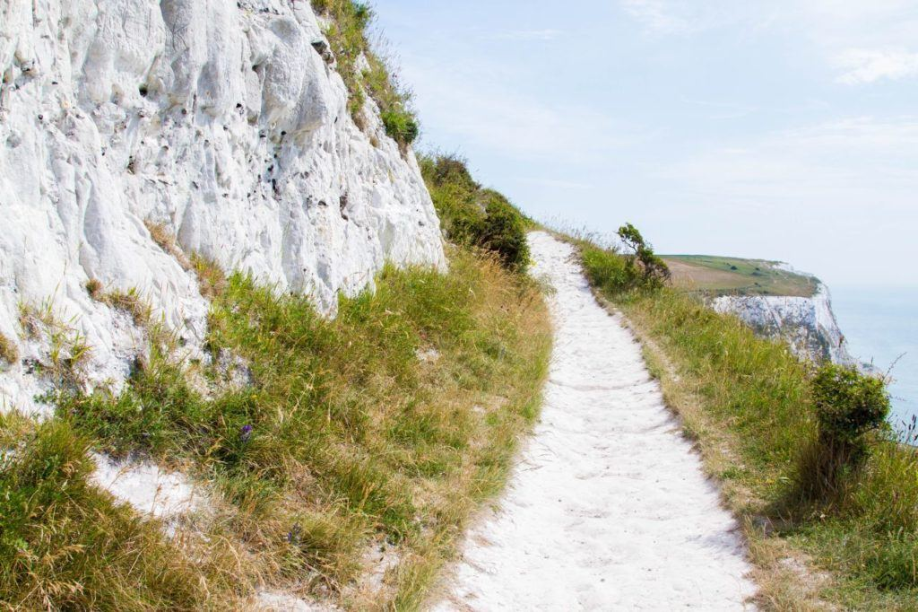 The path will take you right near some gorgeous white cliffs.