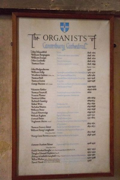 A list of organists dating back 500 years.