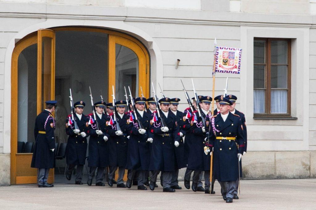 Prague castle changing of the guards.