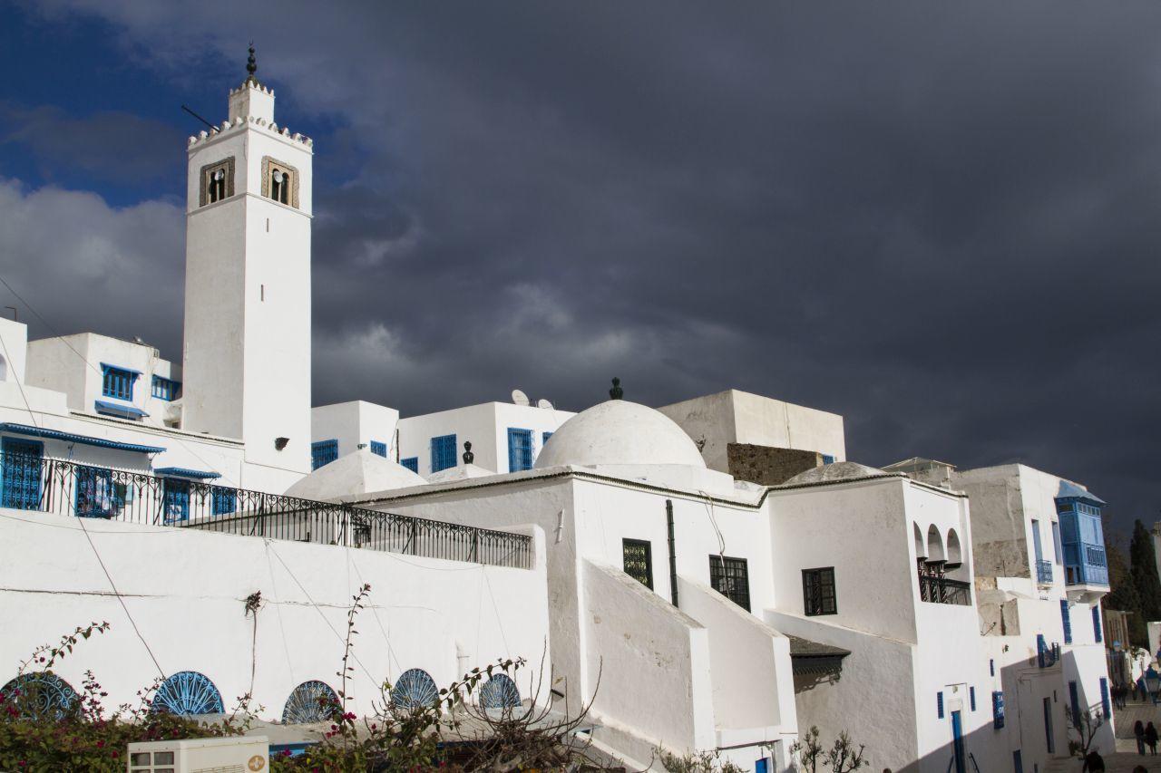 The blue and white colors of Sidi bou Said, Tunisia