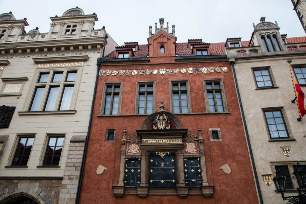 Beautiful facades on medieval buildings in Prague.