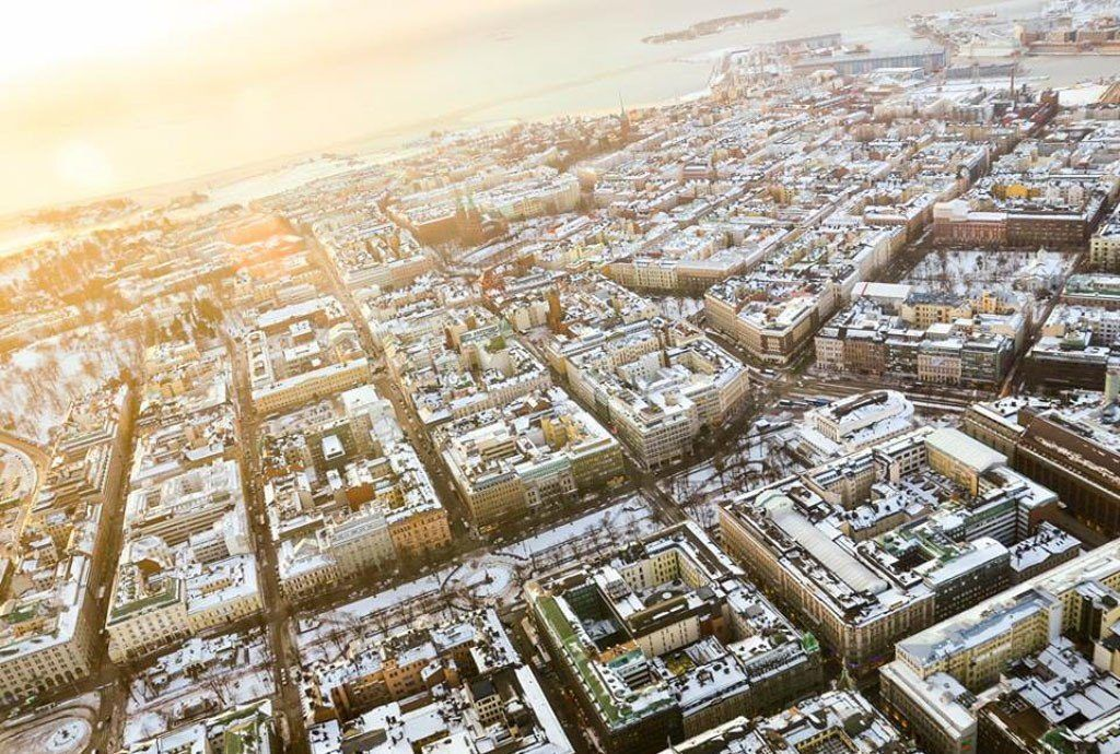 View of Helsinki from a helicopter.