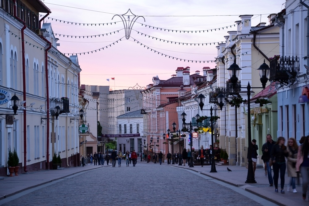 Pedestrian street and old buildings in the old center of Minsk.