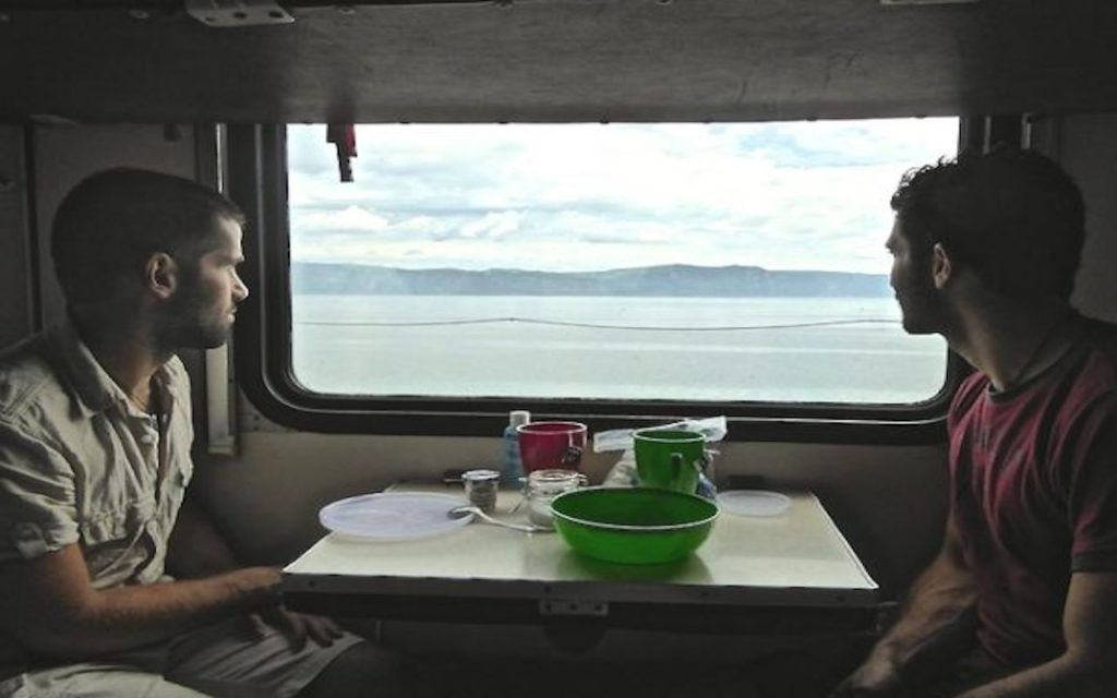 Stefan and his brother in a Trans Siberian Railway car.