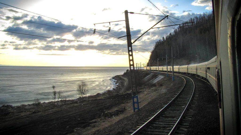 The Trans-Siberian railway on a curve in the tracks near Lake Baikal.
