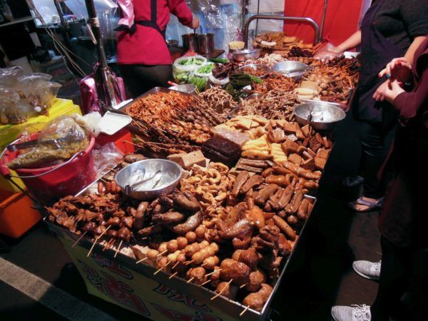 Night Market in Taipei with lots of street food.