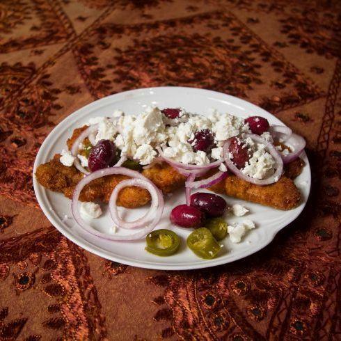 Greek schnitzel recipe card.