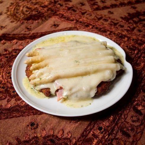 Spargel schnitzel recipe card.