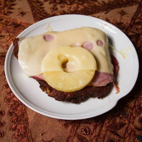 Hawaiian Schnitzel recipe card.