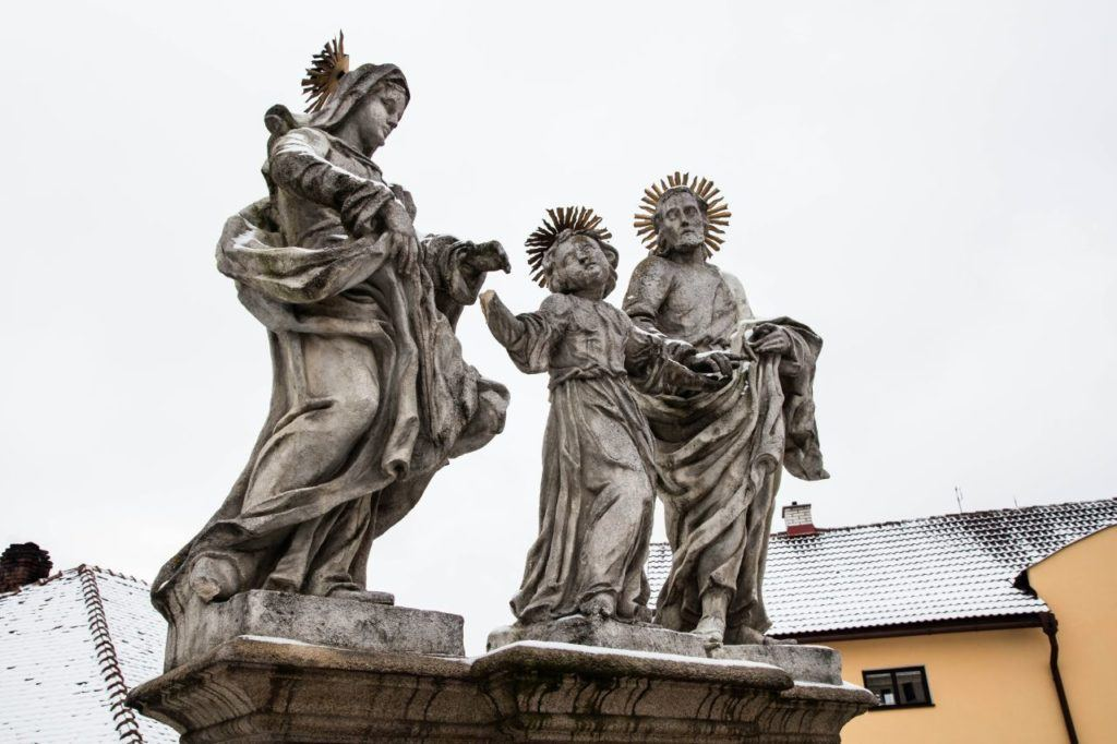 Baroque sculpted statues of holy figures in Telc.