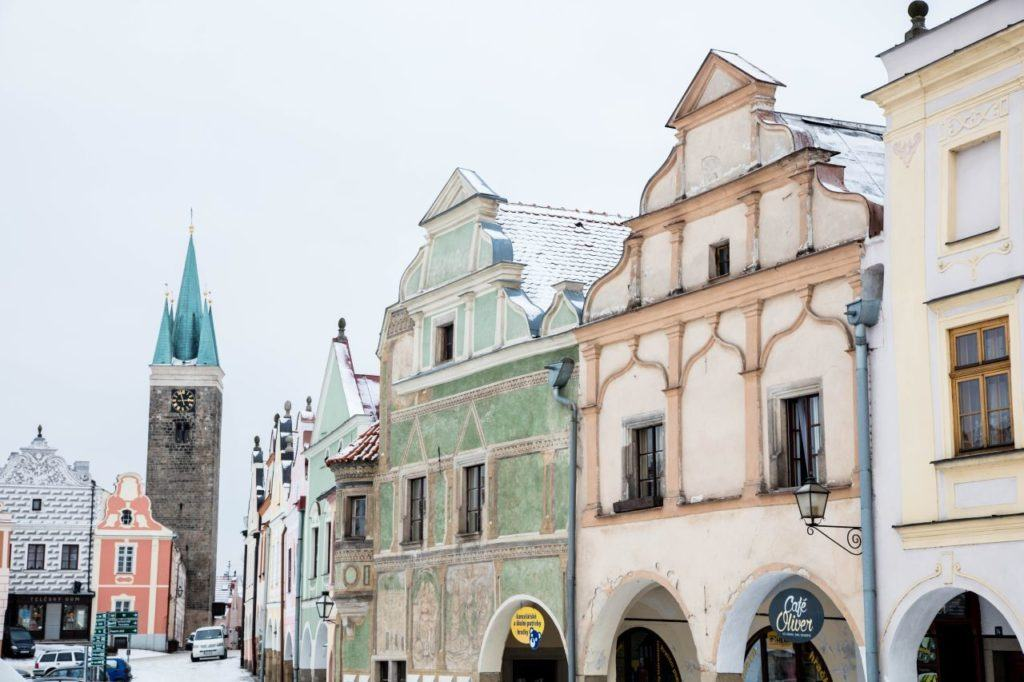 A light dusting of snow turns Telc historic center into a Baroque wonderland.