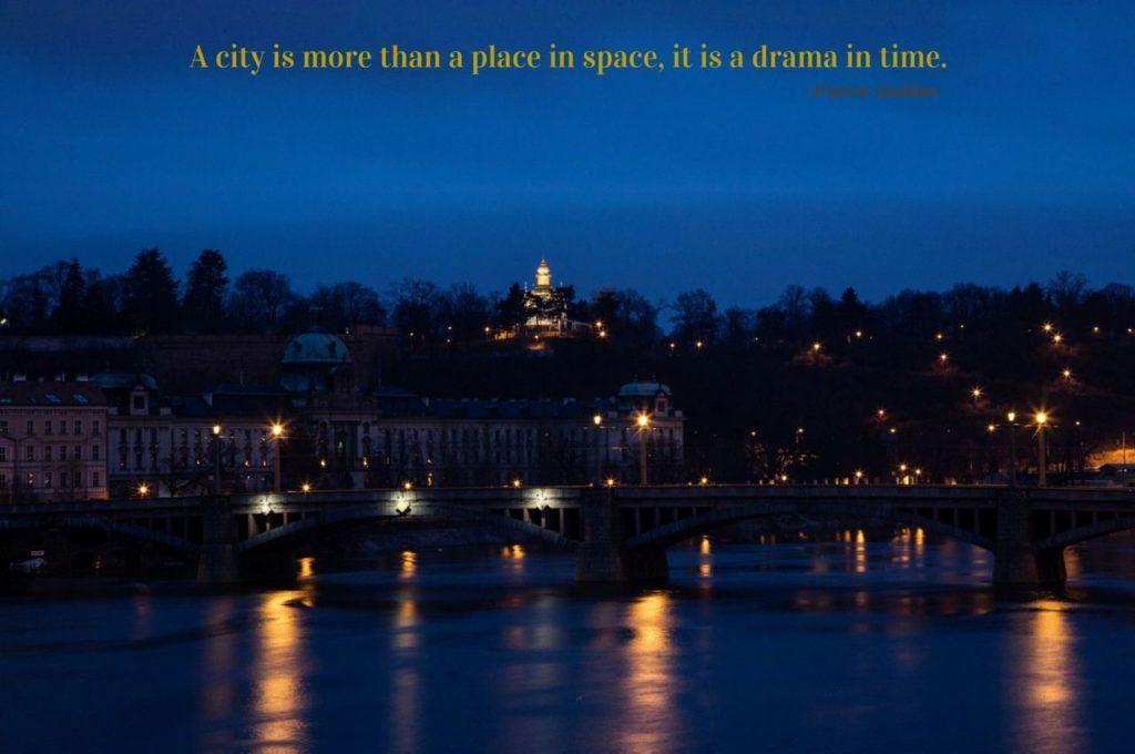 View of Prague at night.
