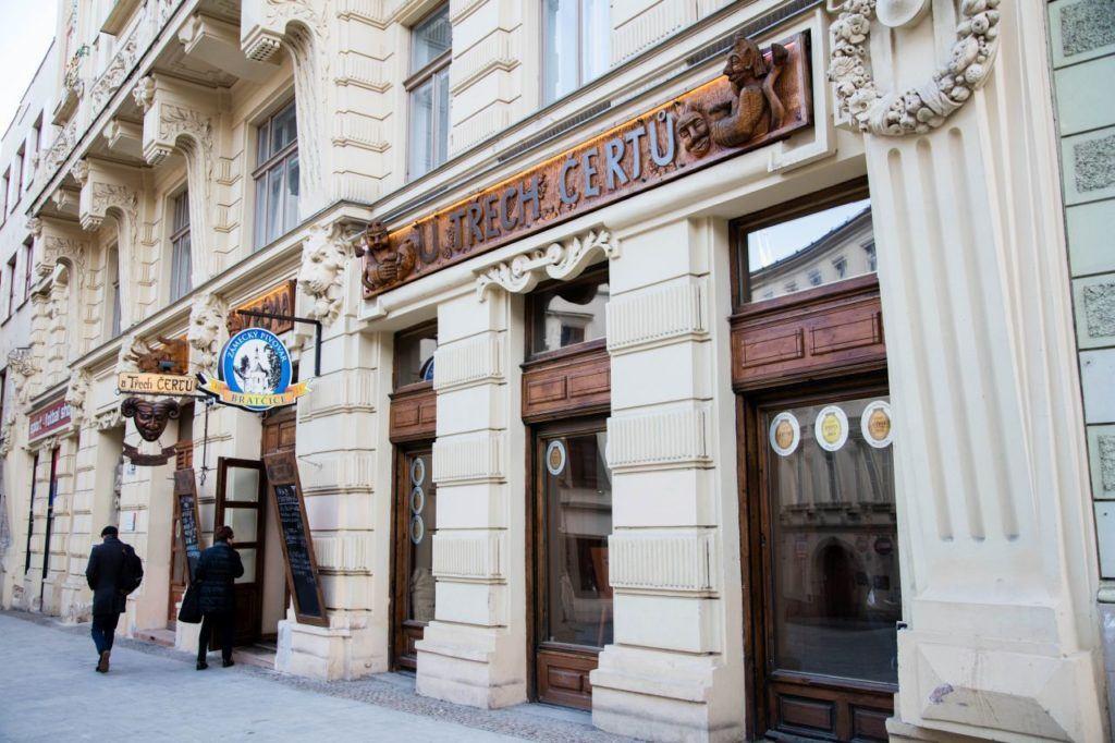 Outside one of our favorite restaurants in Brno, U Trech Certu.