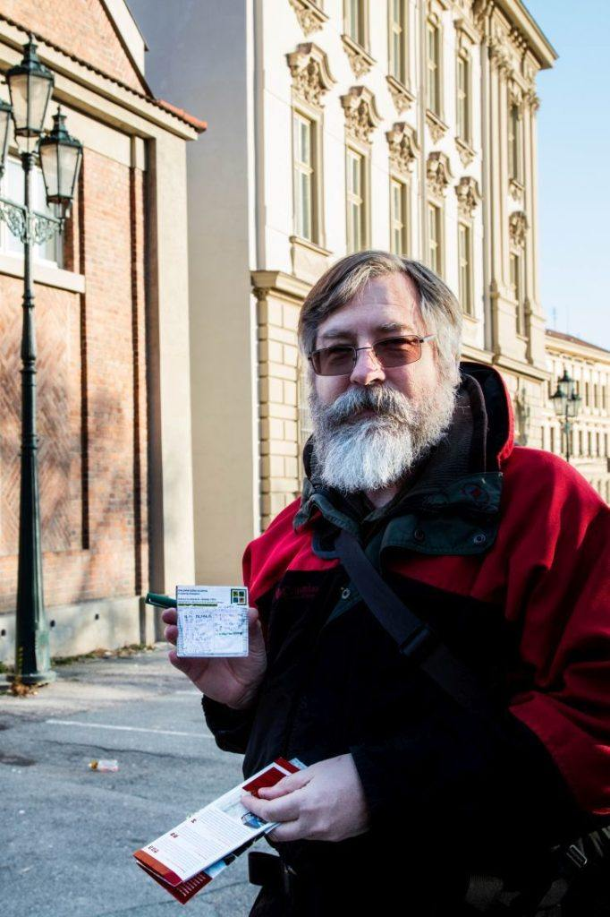 Jim has his Brno pocket map out and ready to tour the sights of the city.