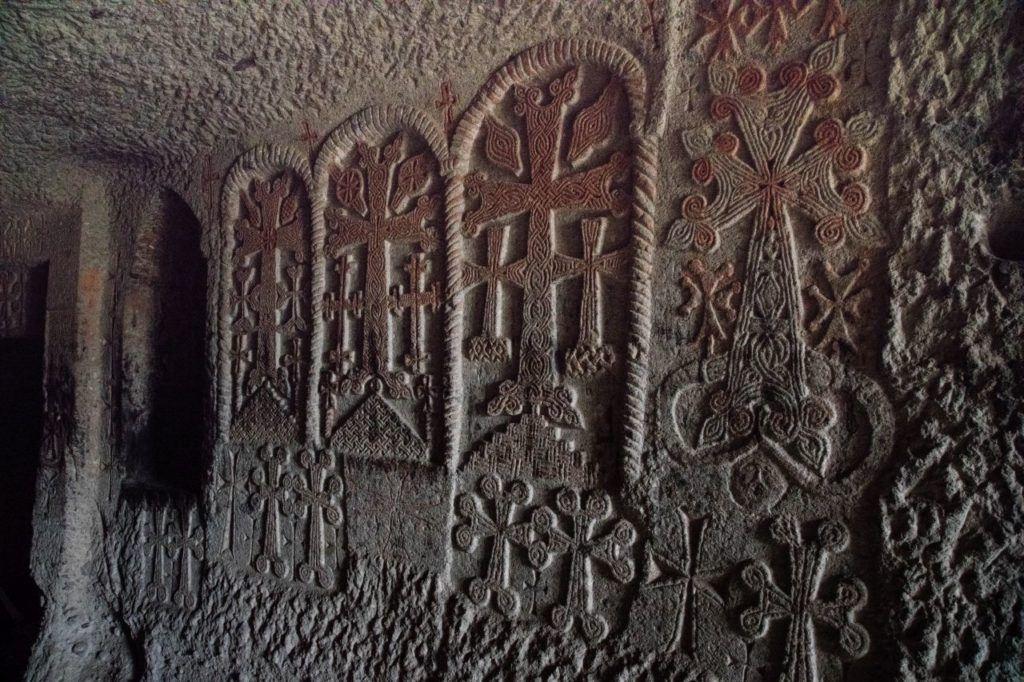 Khachkars, Armenian crosses at Geghard Monastery.