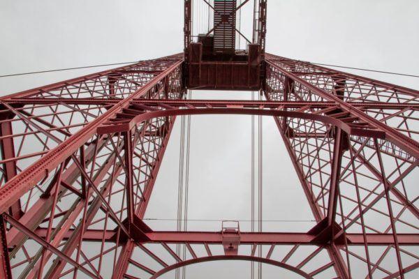 Looking up at the Vizcaya Bridge.