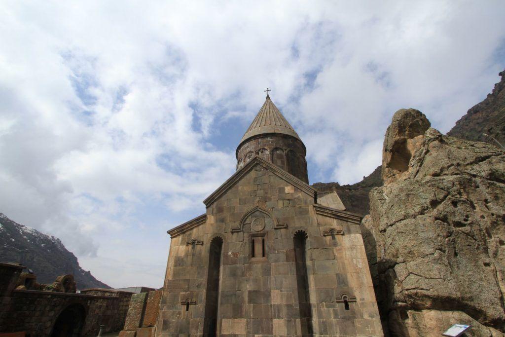 The exterior of Geghard Monastery.