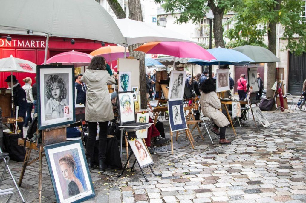 Artists in Montmartre Square.