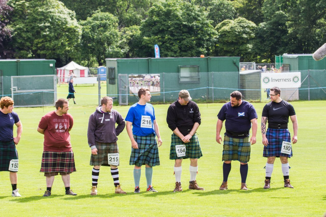The line up of competitors in Inverness at the Highland Gathering