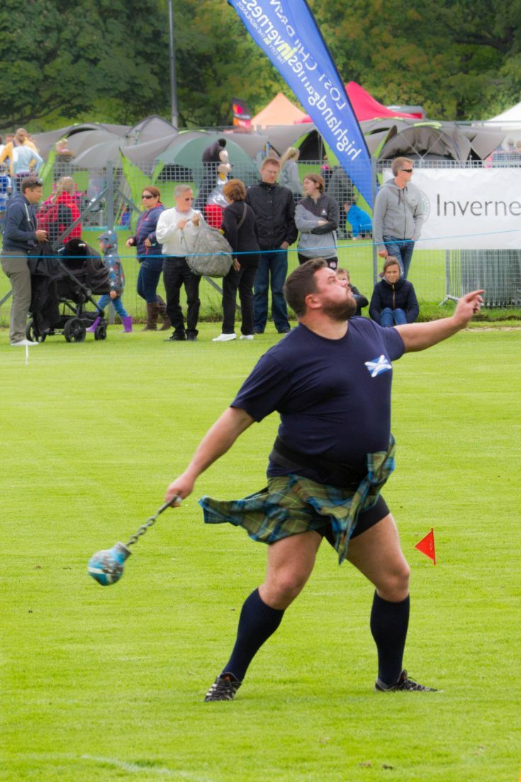 Competing hard, throwing the weight, at the Inverness Highland Games