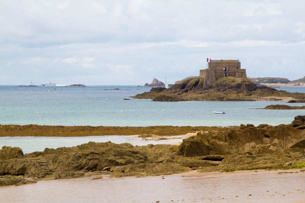 Fort du Petit Be, seen from the city walls of stunning St. Malo, France.