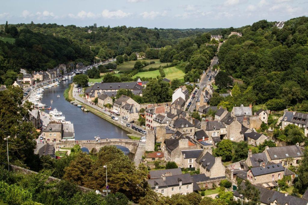Overlooking the charming city of Dinan with its ancient stone bridge on the river La Rance.
