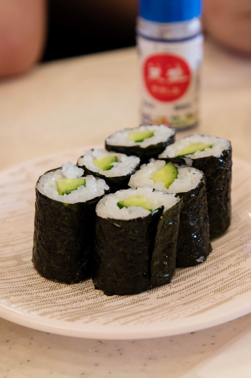 Six cucumber maki rolls, a great Japan food guide option if you don't eat fish.